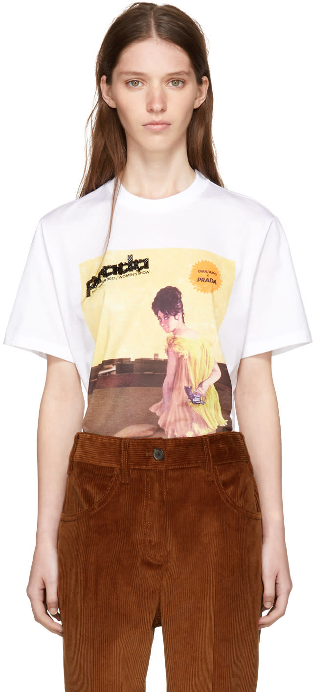 Image of Prada White Yellow Dress Girl Poster T-shirt