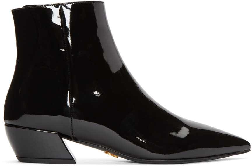 Prada Black Patent Pointed Boots