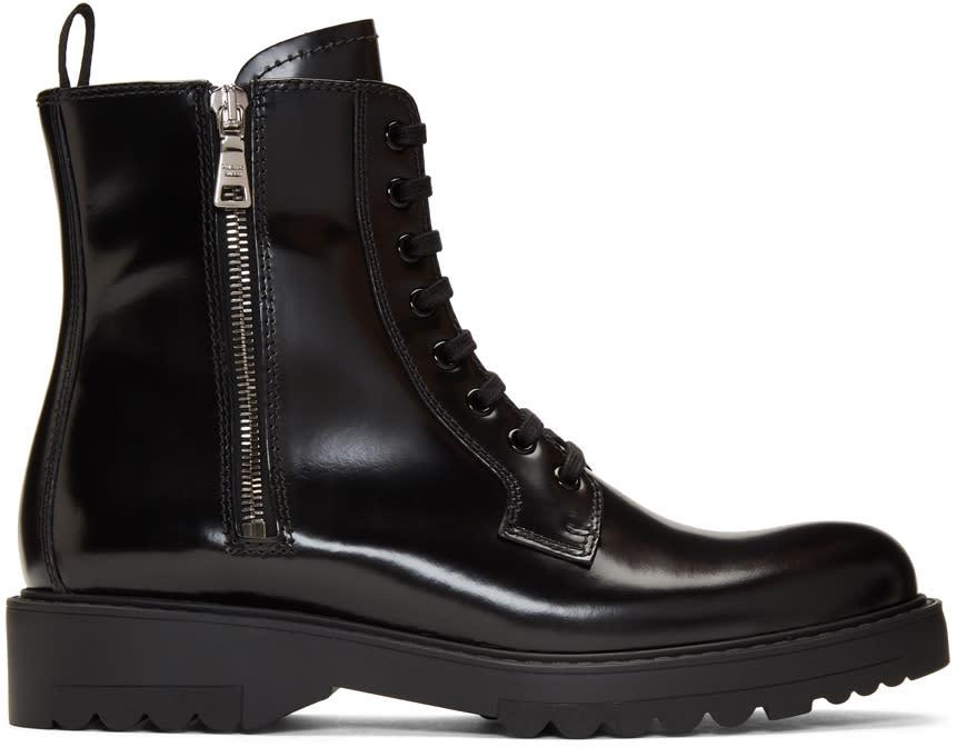 Prada Black Military Combat Boots