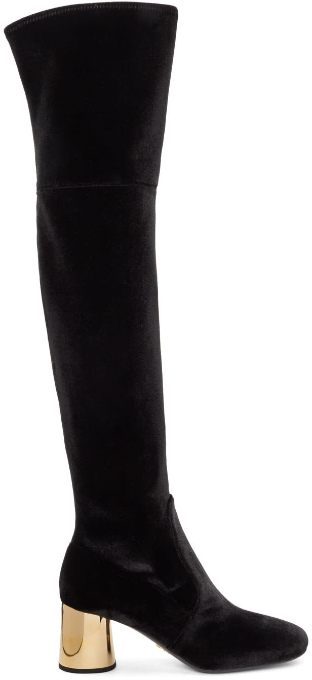 Image of Prada Black and Gold Square Over-the-knee Boots