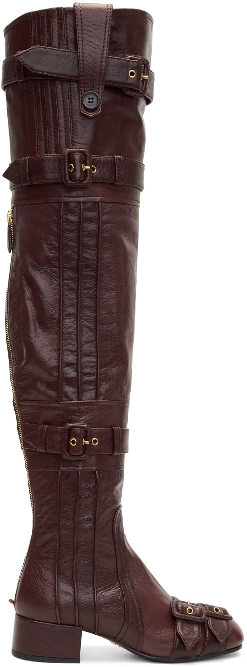 Prada-Burgundy Buckle Over-the-knee Boots