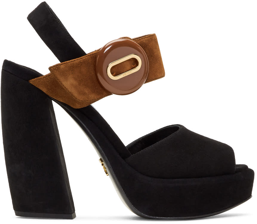 Image of Prada Black and Brown Suede Button Platform Sandals
