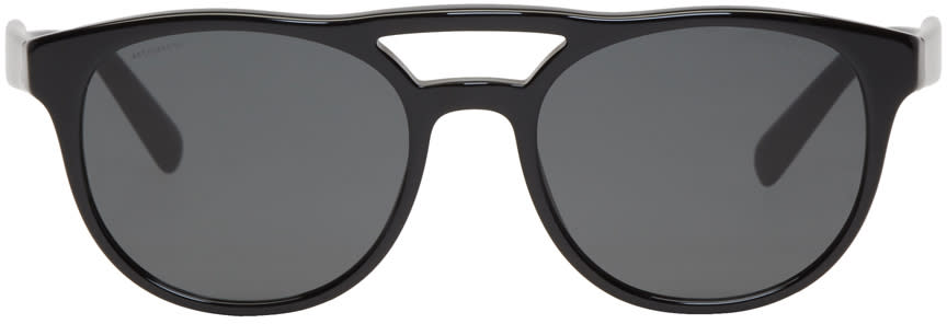 Image of Prada Black and Grey Double Bridge Sunglasses