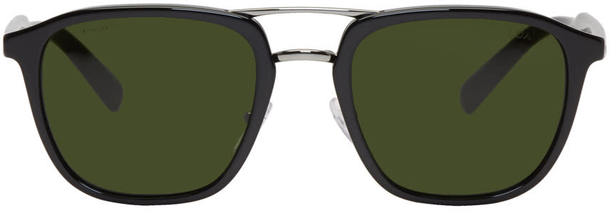 Image of Prada Black and Green Double Bridge Sunglasses