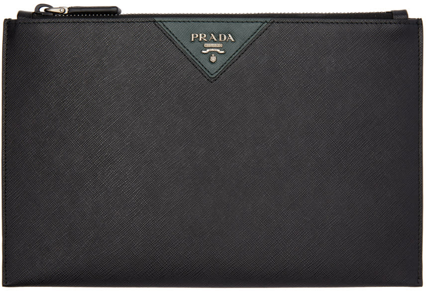 Image of Prada Black and Green Saffiano Zip Pouch