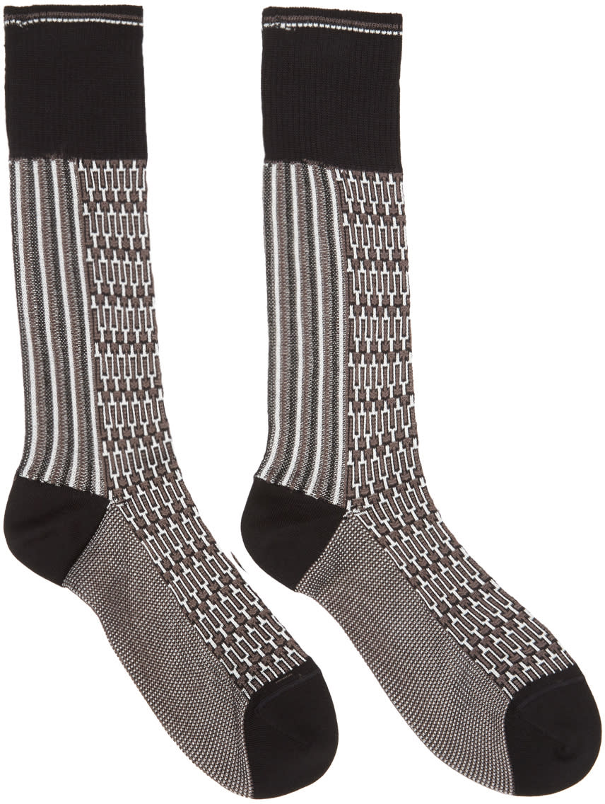 Image of Prada Black and Brown Jaquard Socks