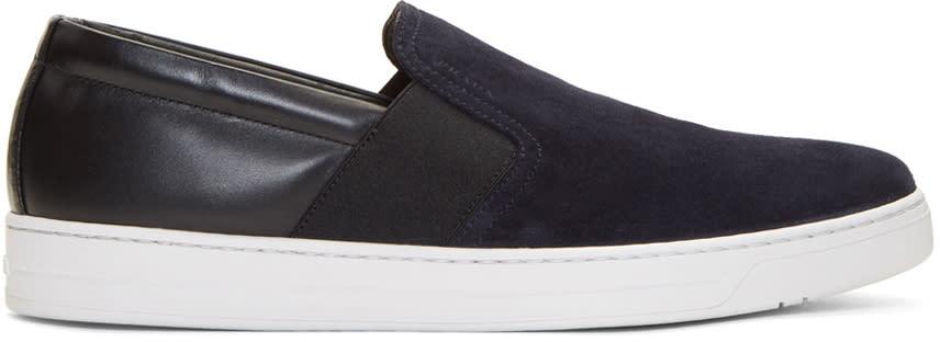 Prada Navy and Black Suede Slip-on Sneakers