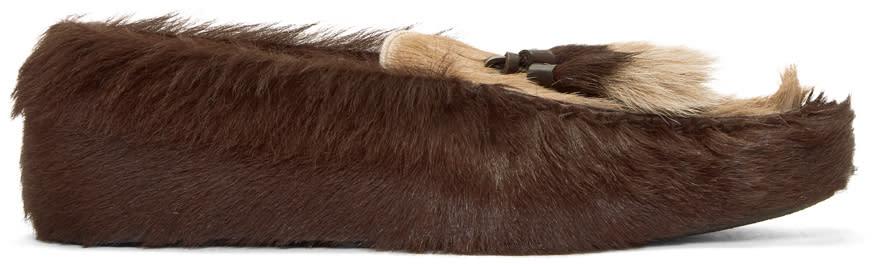 Prada Brown Fur Loafers