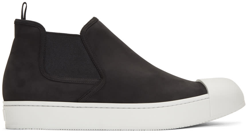 Prada Black Nubuck Mid Slip-on Sneakers