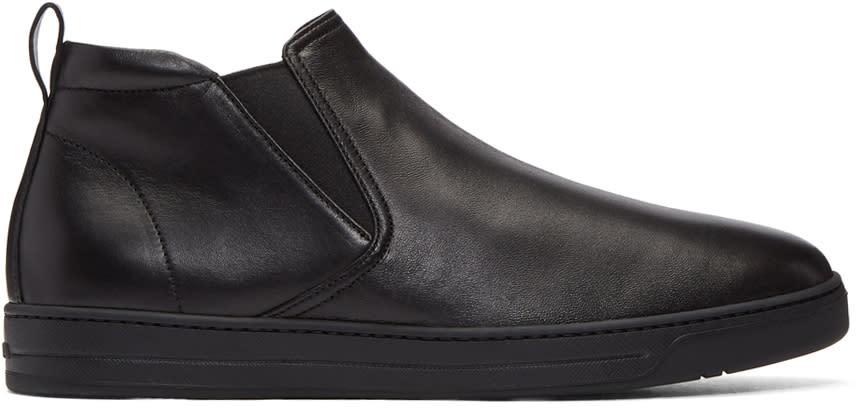 Prada Black Leather Mid-top Slip-on Sneakers