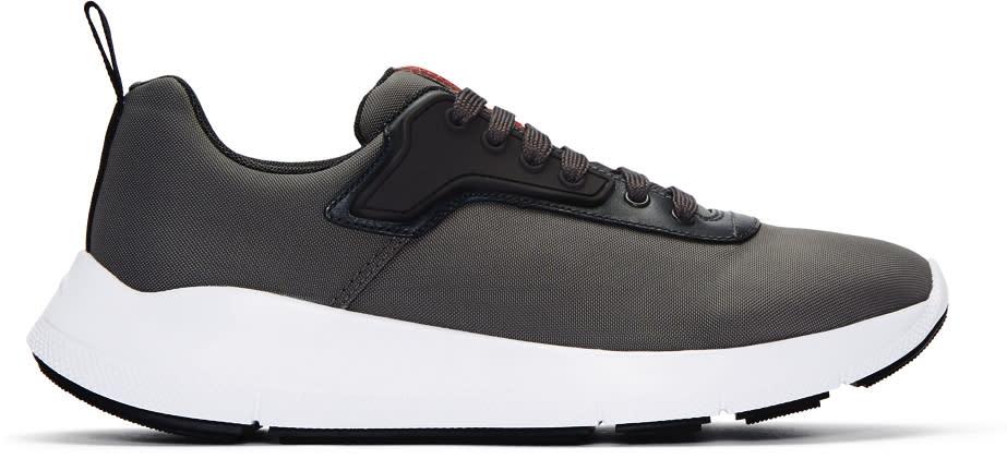 Prada Grey Nylon Tech Sneakers