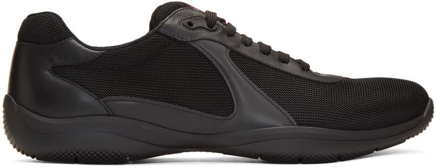 Prada Black Mesh and Leather Sneakers