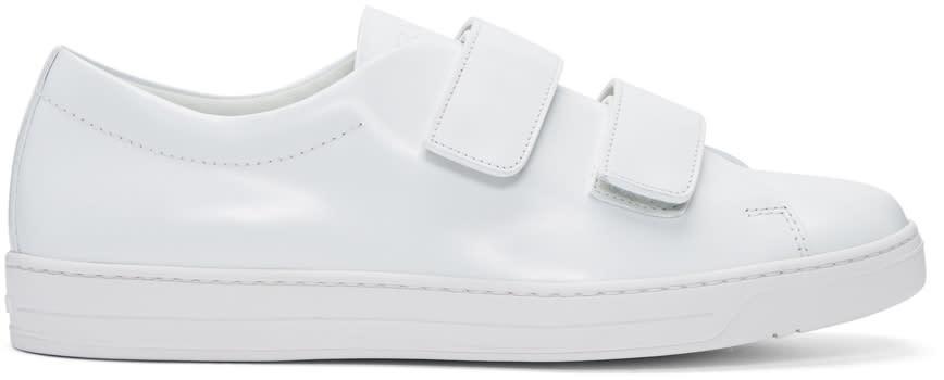 Prada White Two Strap Sneakers