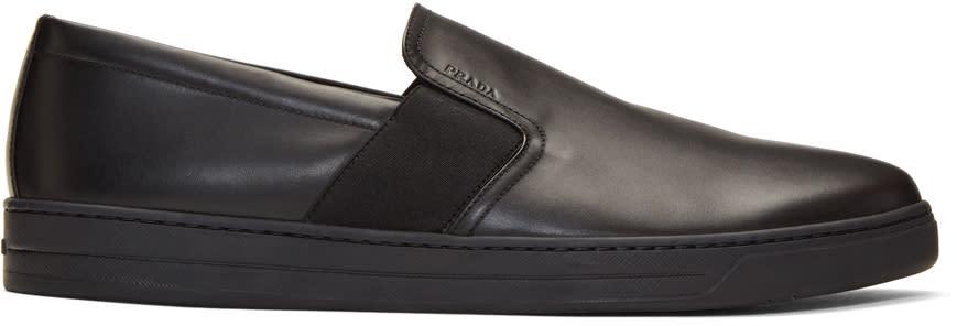 Prada Black Leather Slip-on Sneakers