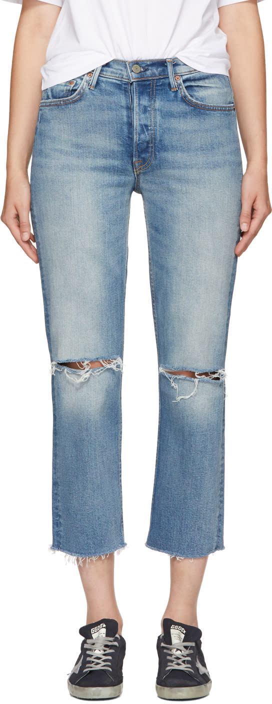 Image of Grlfrnd Blue Helena Crop Jeans
