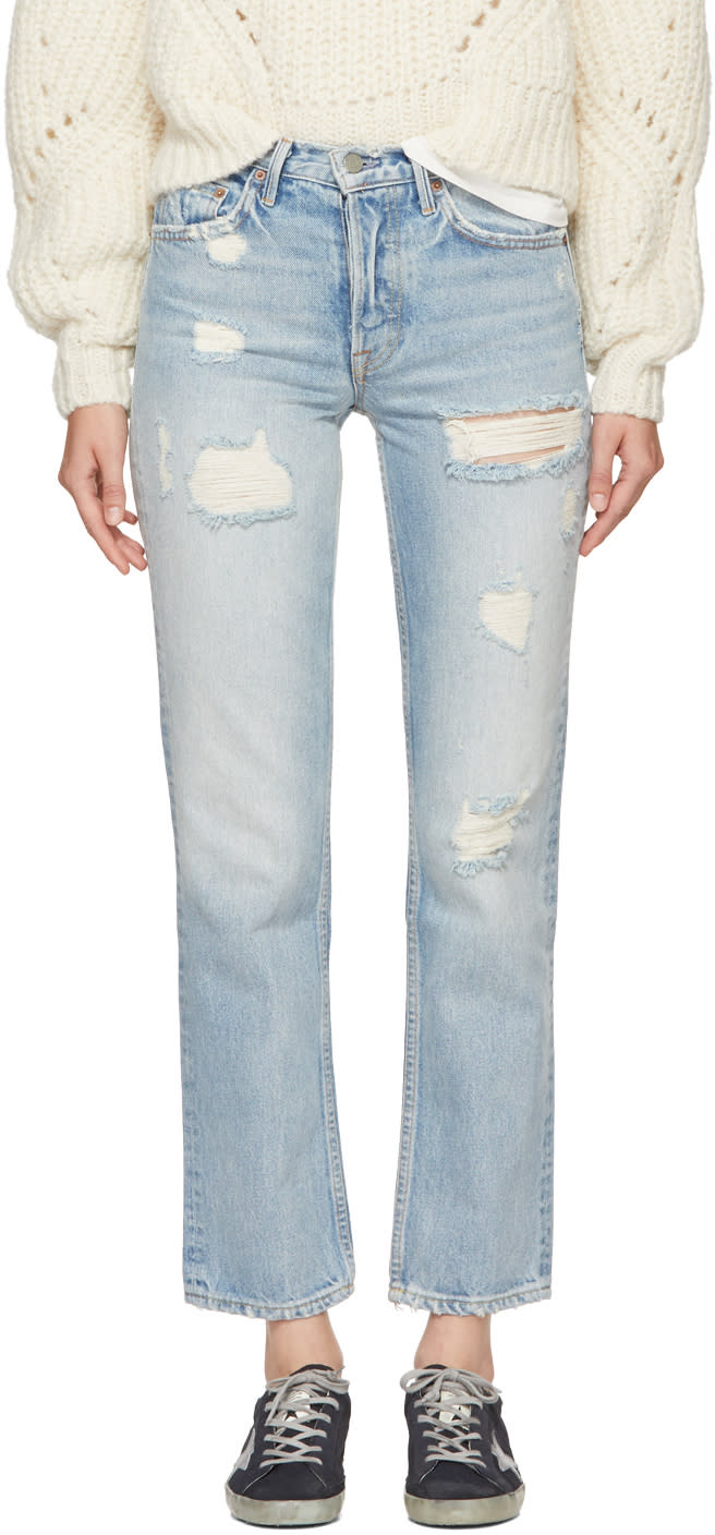 Image of Grlfrnd Blue Helena Long Jeans