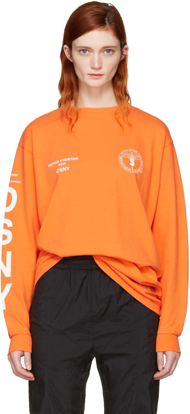 Heron Preston Orange Dsny Edition Long Sleeve uniform T-shirt