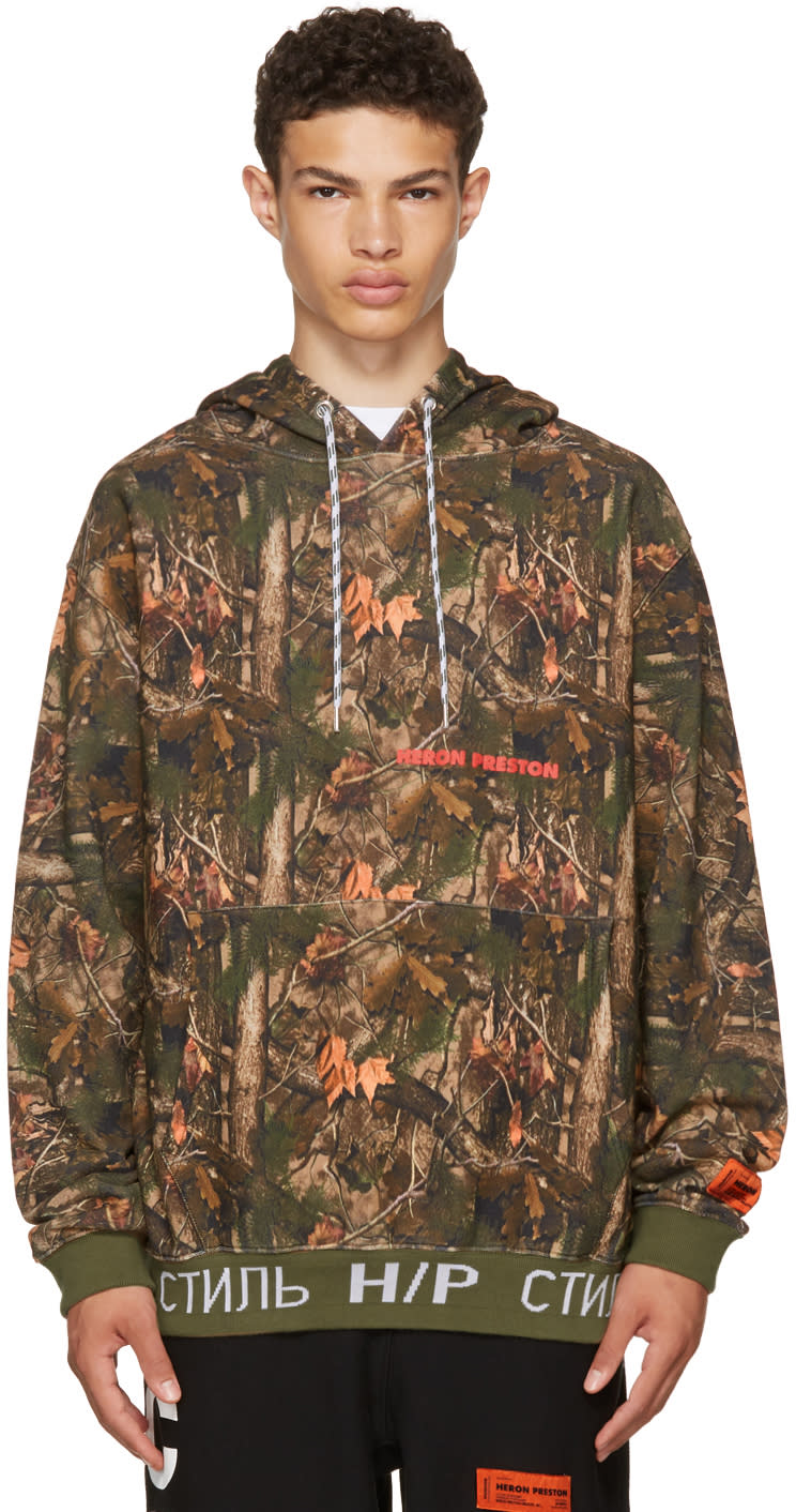 Image of Heron Preston Khaki Camouflage Forest Hoodie