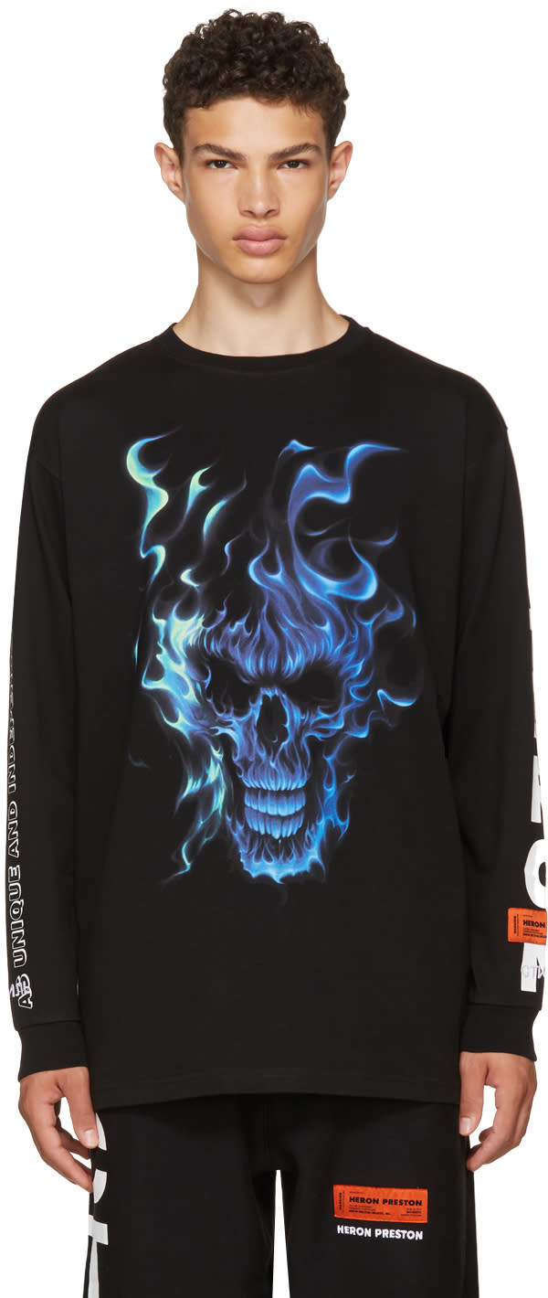 Image of Heron Preston Black Long Sleeve Skull T-shirt