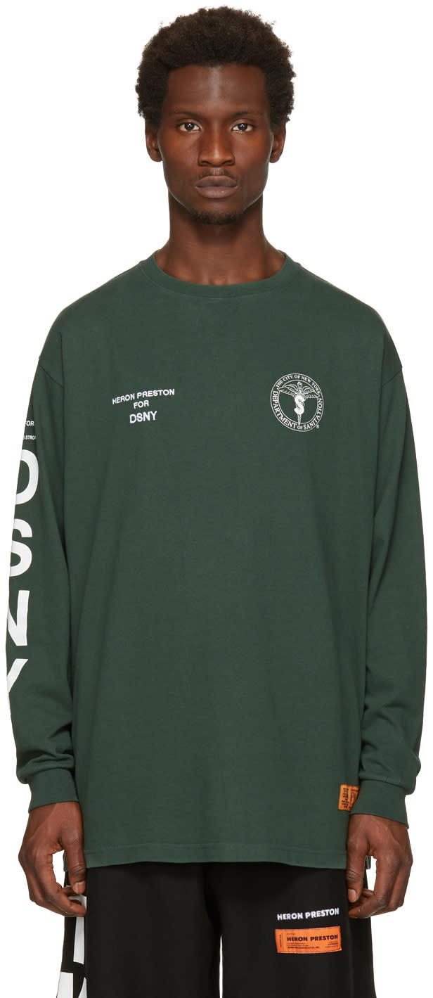Heron Preston Green Dsny Edition Long Sleeve uniform T-shirt