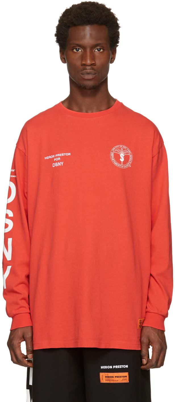 Heron Preston Red Dsny Edition Long Sleeve uniform T-shirt