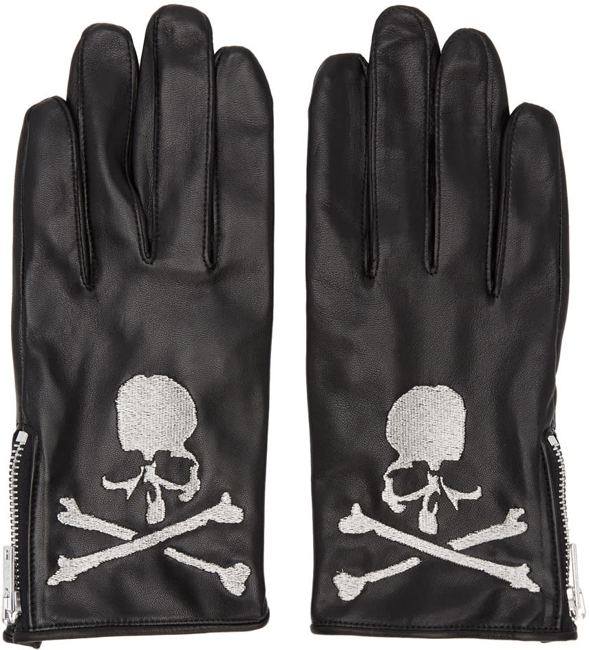 Image of Mastermind World Black Leather Embroidered Gloves