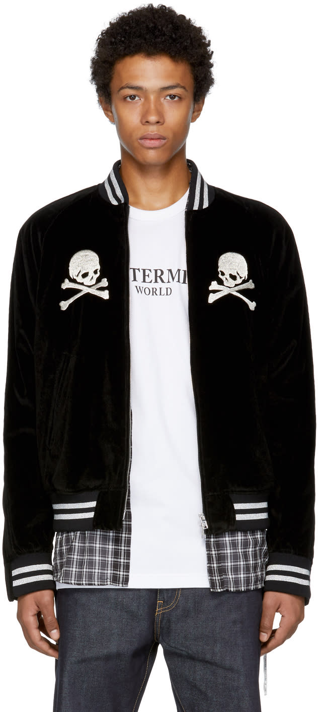 Image of Mastermind World Black Skull Bomber Jacket