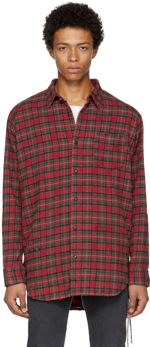 Image of Mastermind World Red Flannel Check Shirt