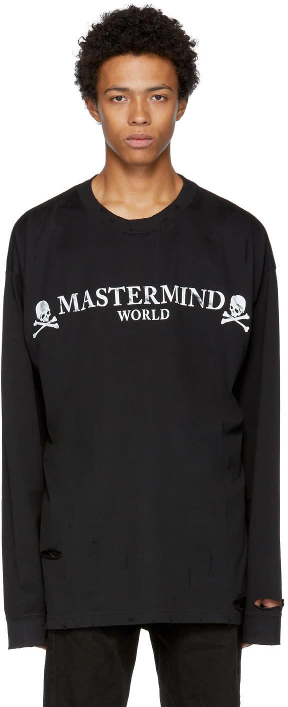 Image of Mastermind World Black Oversized Distressed Round Logo T-shirt