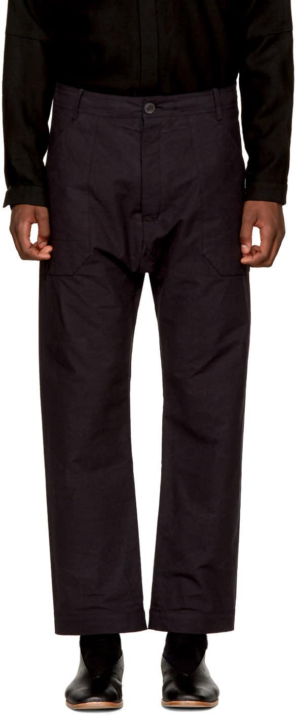 Image of Jan-jan Van Essche Black Loose-fit Trousers