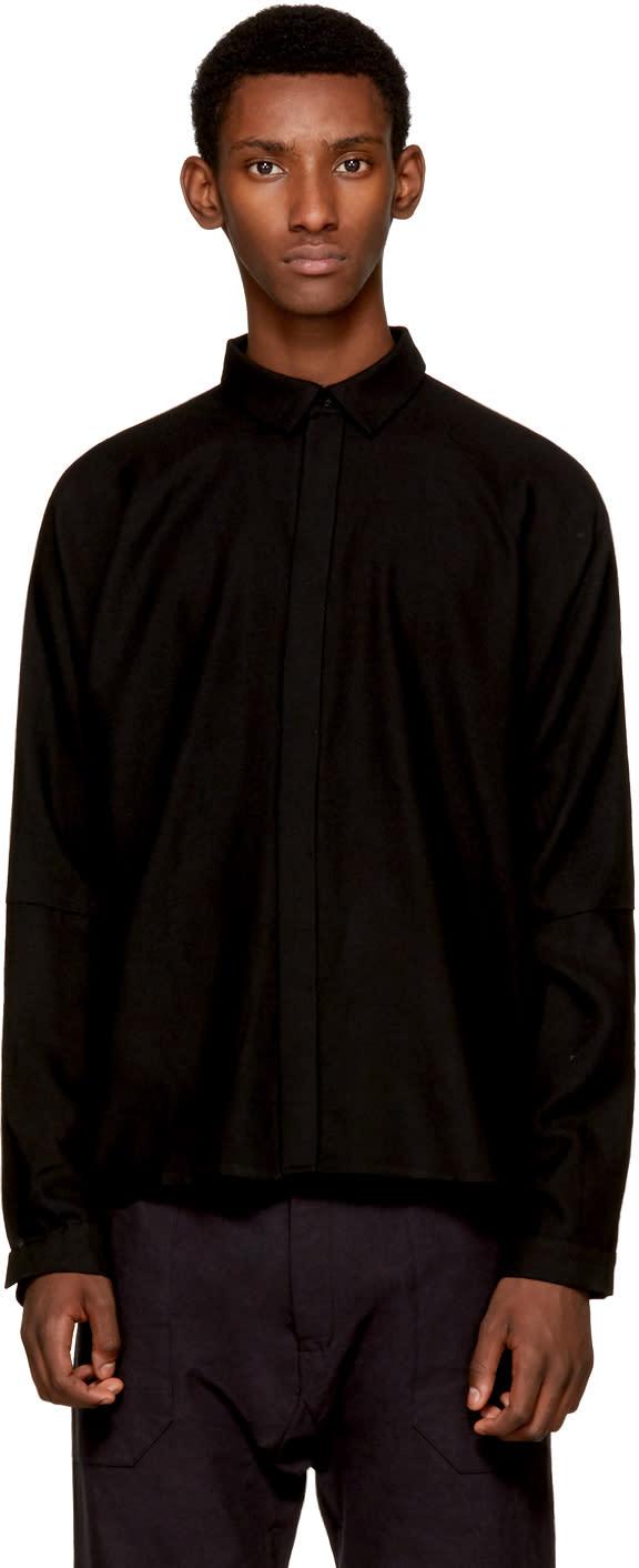 Image of Jan-jan Van Essche Black Classic Wool Shirt