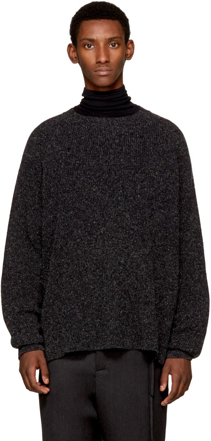 Image of Jan-jan Van Essche Black Basic Crewneck Sweater