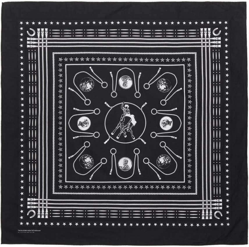 Image of Takahiromiyashita Thesoloist. Black and Navy Cotton Bandana