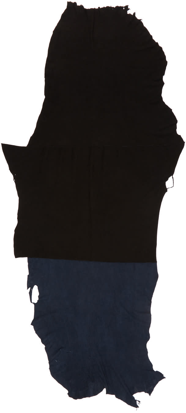 Image of Takahiromiyashita Thesoloist. Black and Navy New Rough-out Scarf