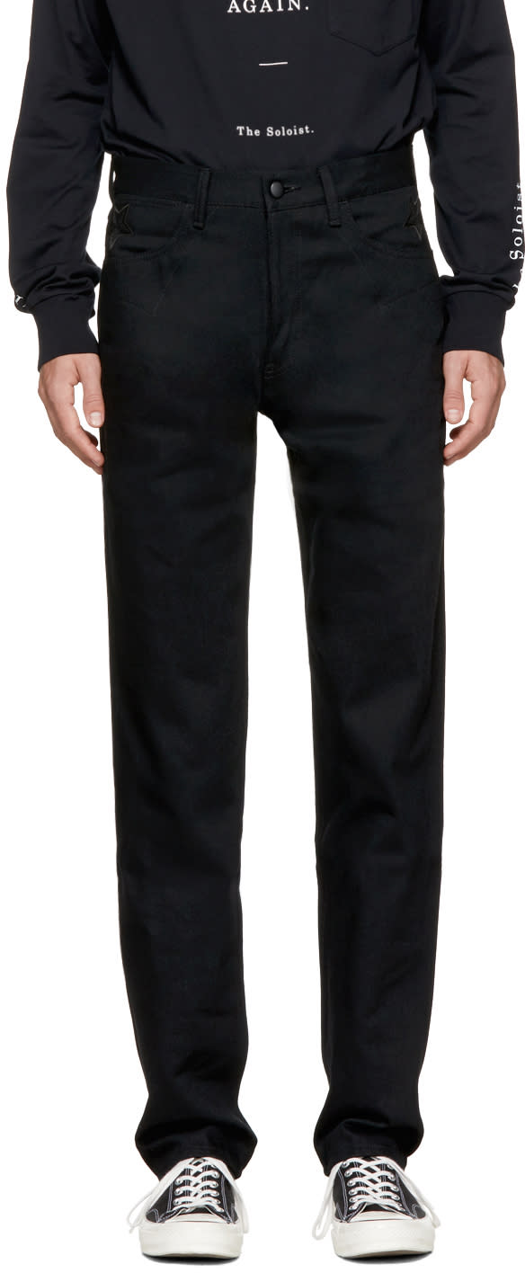 Image of Takahiromiyashita Thesoloist. Black Lone Star Loose Jeans