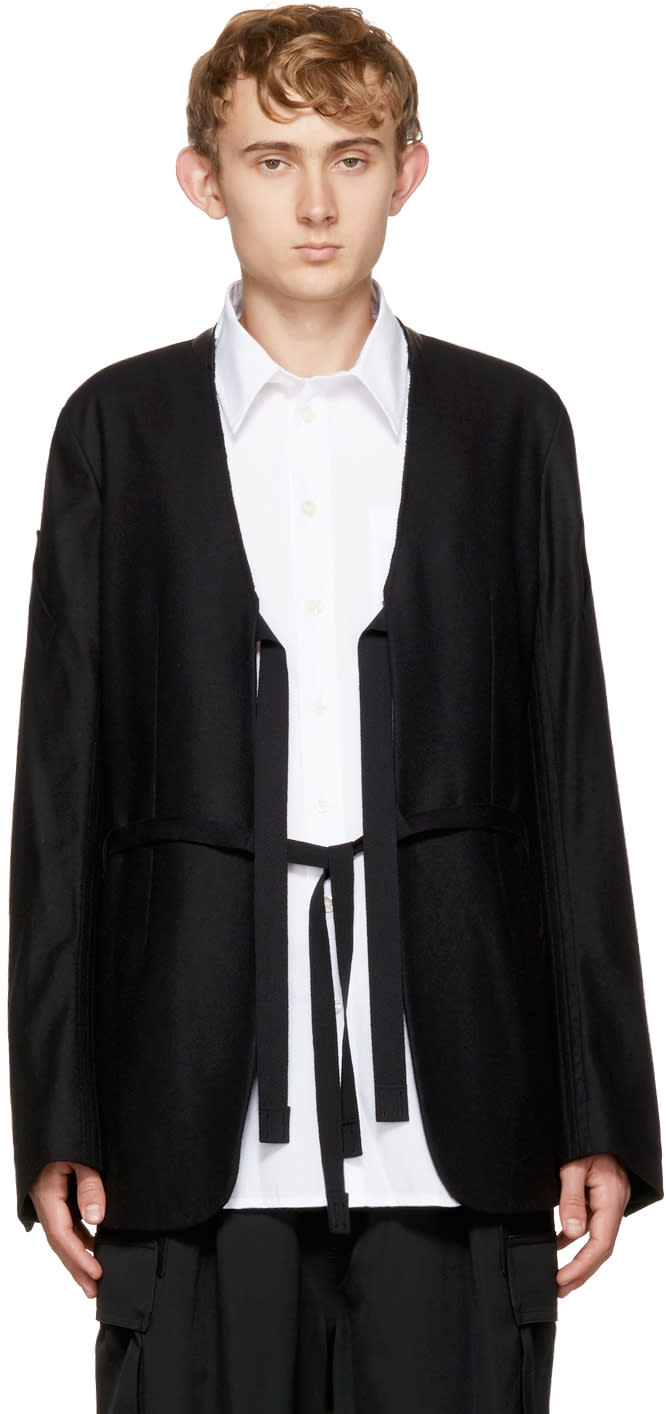 Image of Takahiromiyashita Thesoloist. Black Collarless Jacket