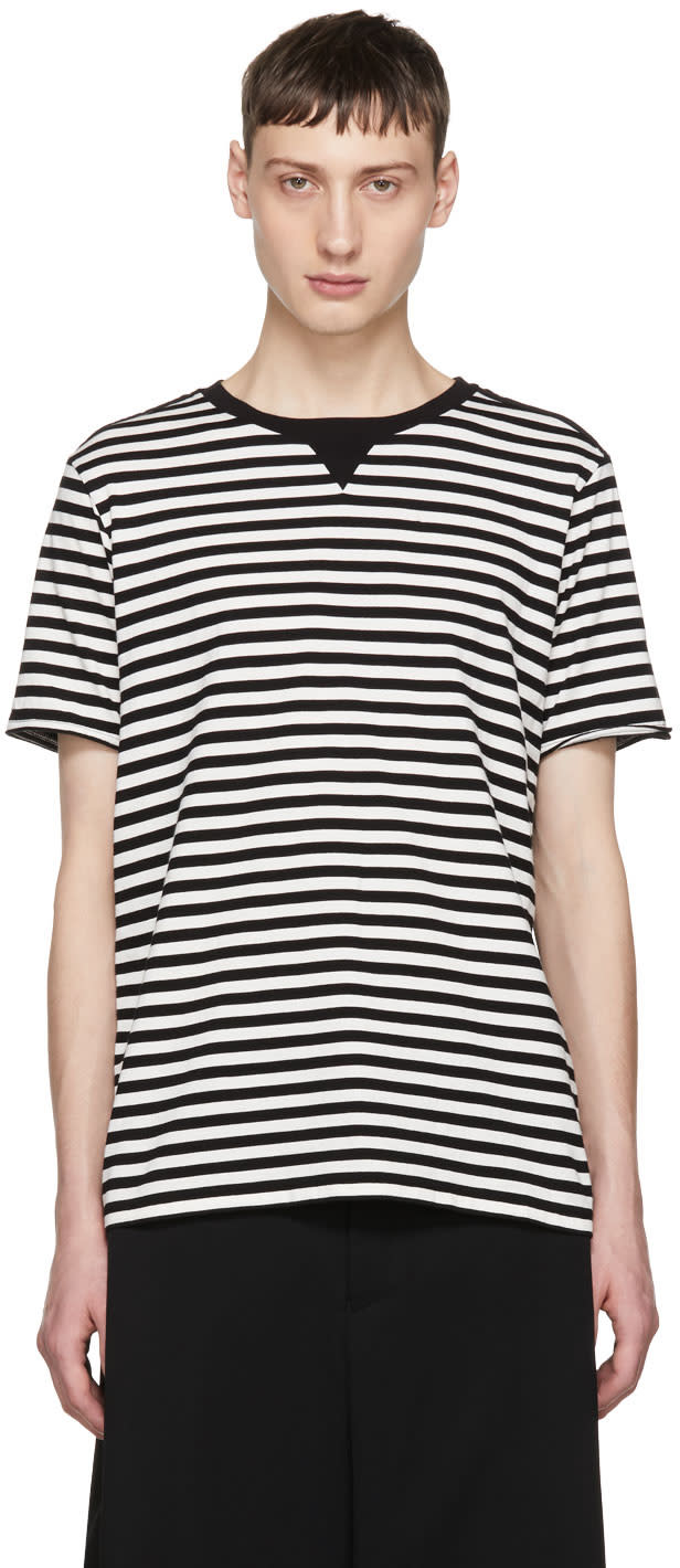 Image of Takahiromiyashita Thesoloist. Black and White Striped Crewneck T-shirt