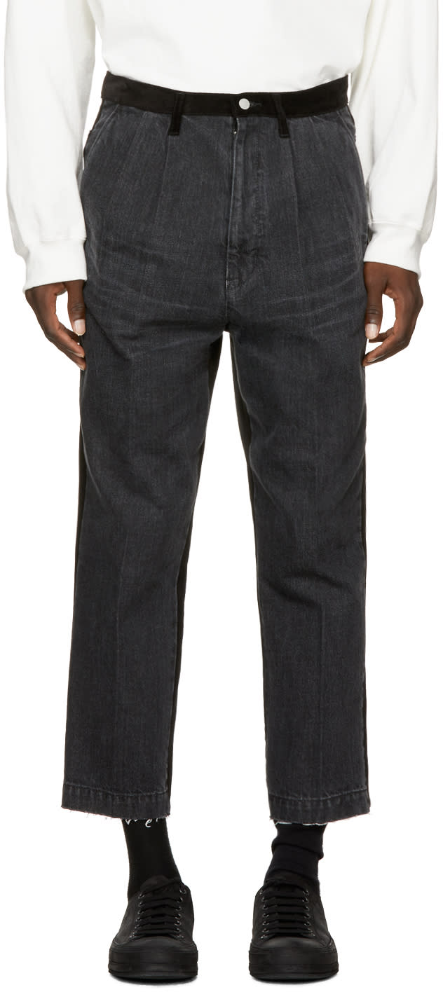 Image of Name. Black Panelled Corduroy Jeans