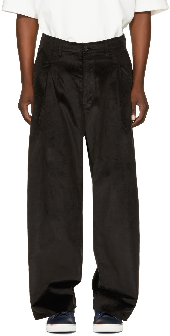 Image of Name. Black Corduroy Wide-leg Trousers