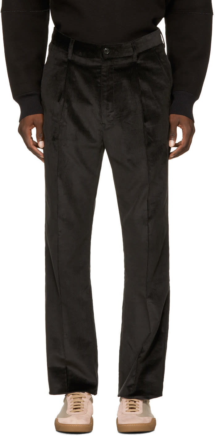 Image of Name. Black Corduroy Single Pleat Trousers