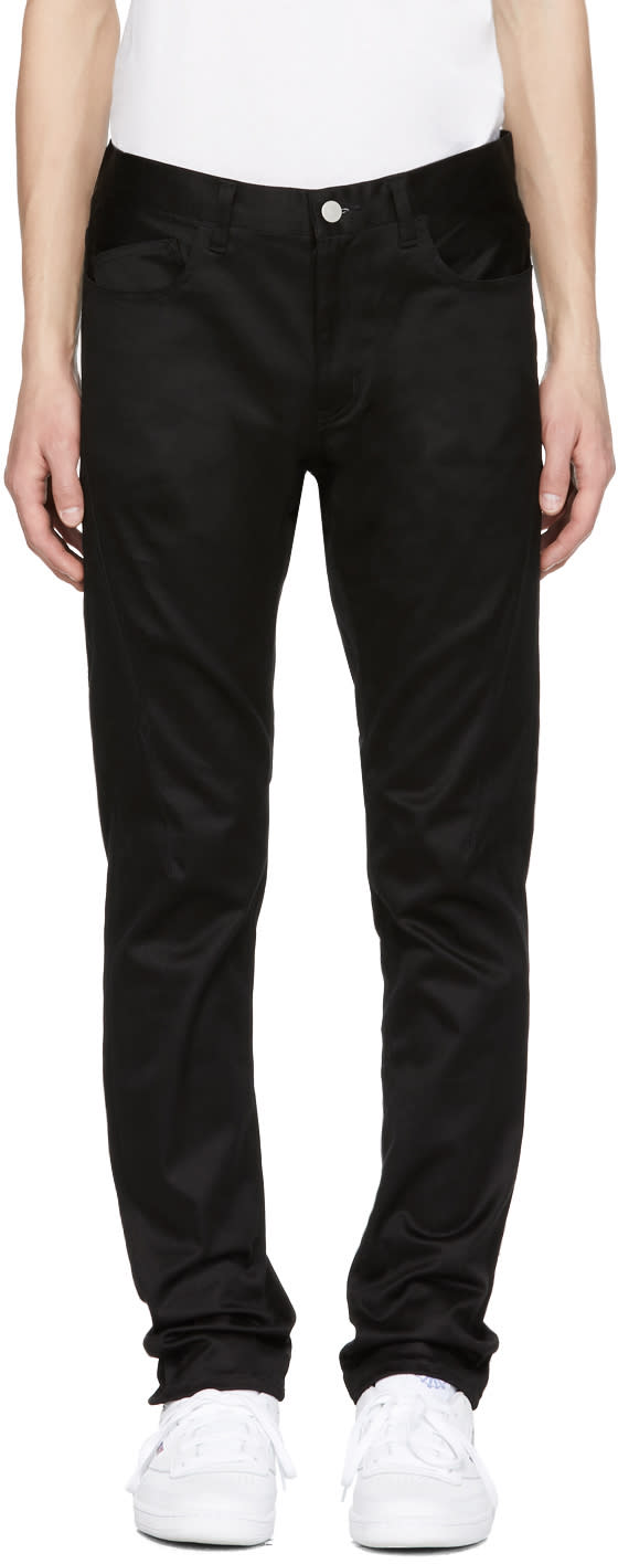 Image of Name. Black Cotton Skinny Trousers