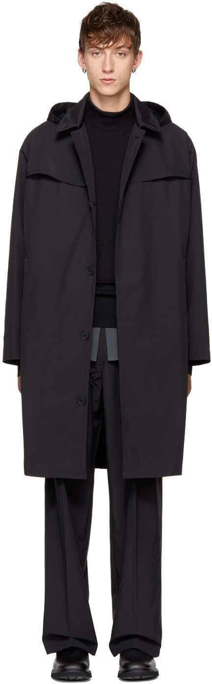 Image of Mackintosh 0001 Black Hooded Trench Coat