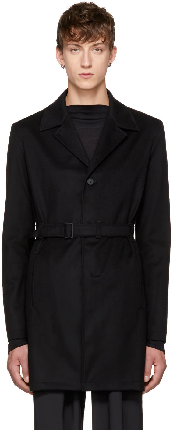 Image of Mackintosh 0001 Black Cashmere Belted Trench Coat