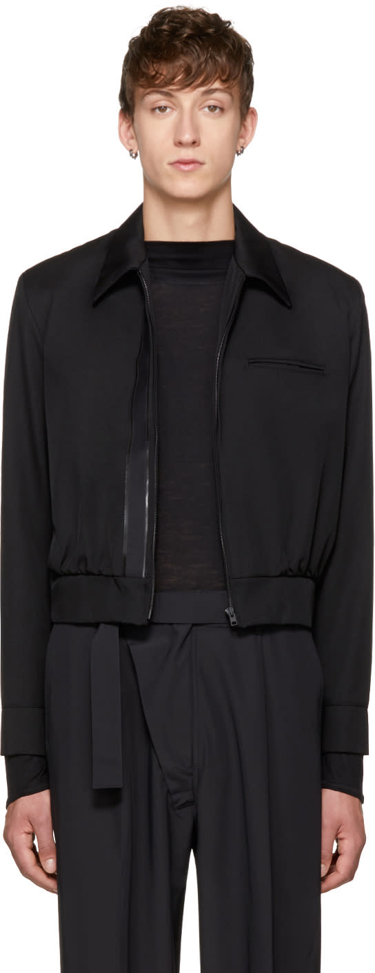 Image of Mackintosh 0001 Black Wool Harrington Jacket