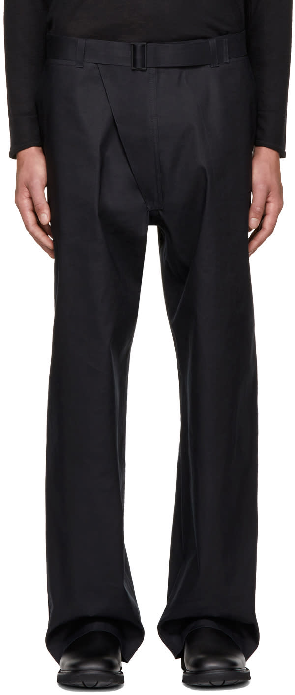 Image of Mackintosh 0001 Black Loose-fit Trousers
