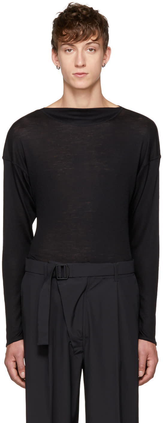 Image of Mackintosh 0001 Black Three-quarter Sleeve Wool Sweater