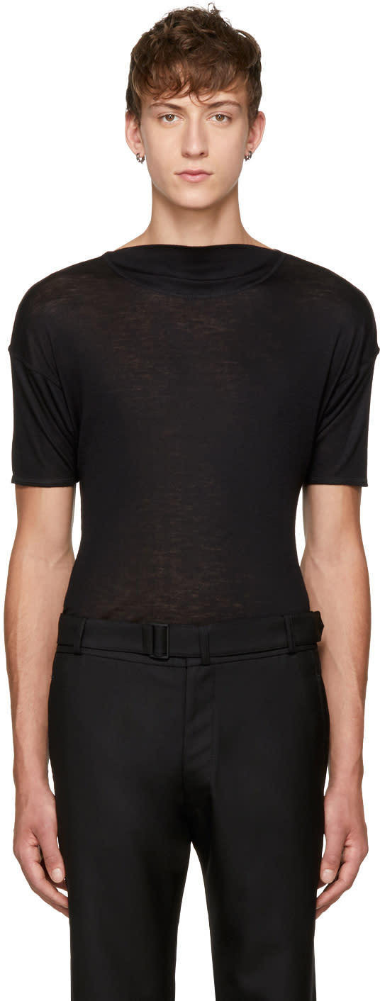 Image of Mackintosh 0001 Black Short Sleeve Wool Pullover