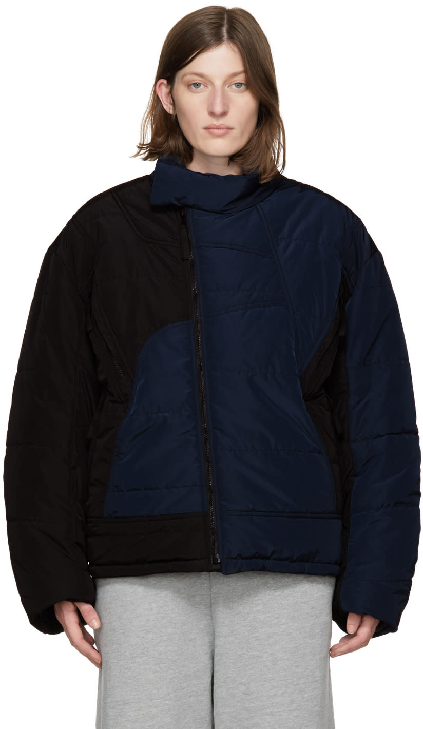 Image of Gmbh Black and Navy Harris Puffer Jacket