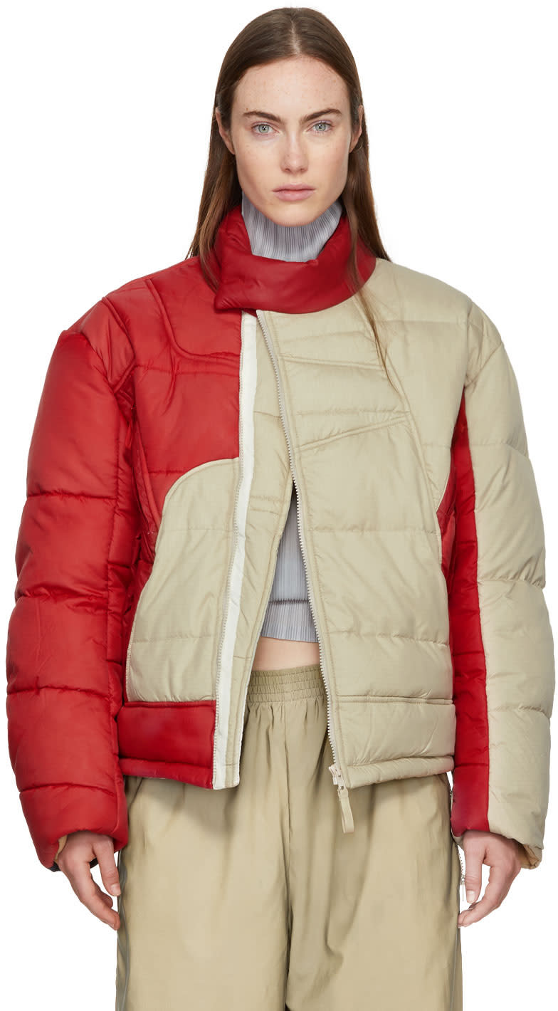 Image of Gmbh Beige and Red Helly Hansen Edition Recycled Down Hans Jacket