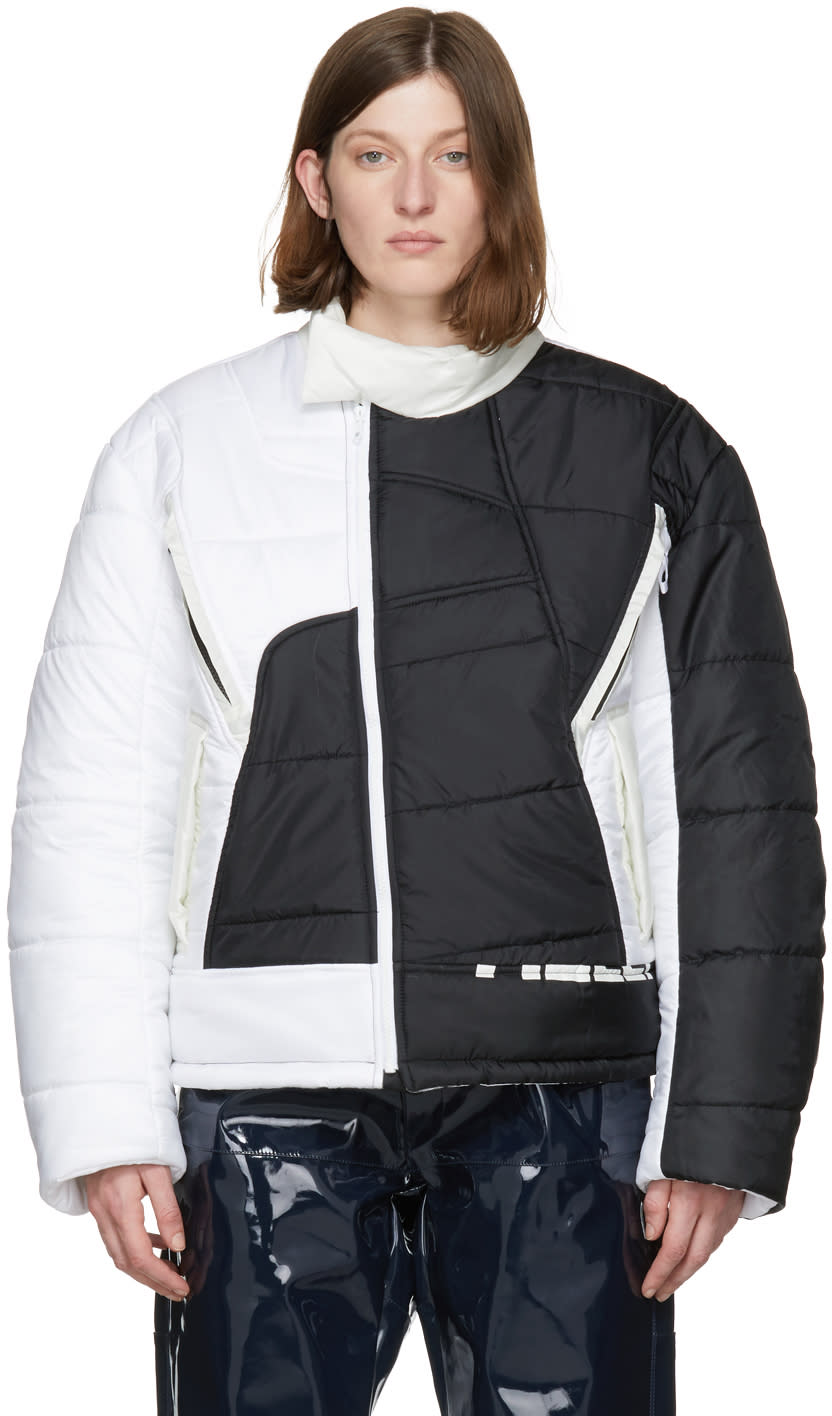 Image of Gmbh Black and White Hans Recycled Puffer Jacket
